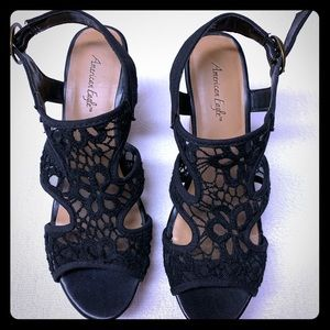 American Eagle Black Lace Wedge Shoes. 8. Perfect